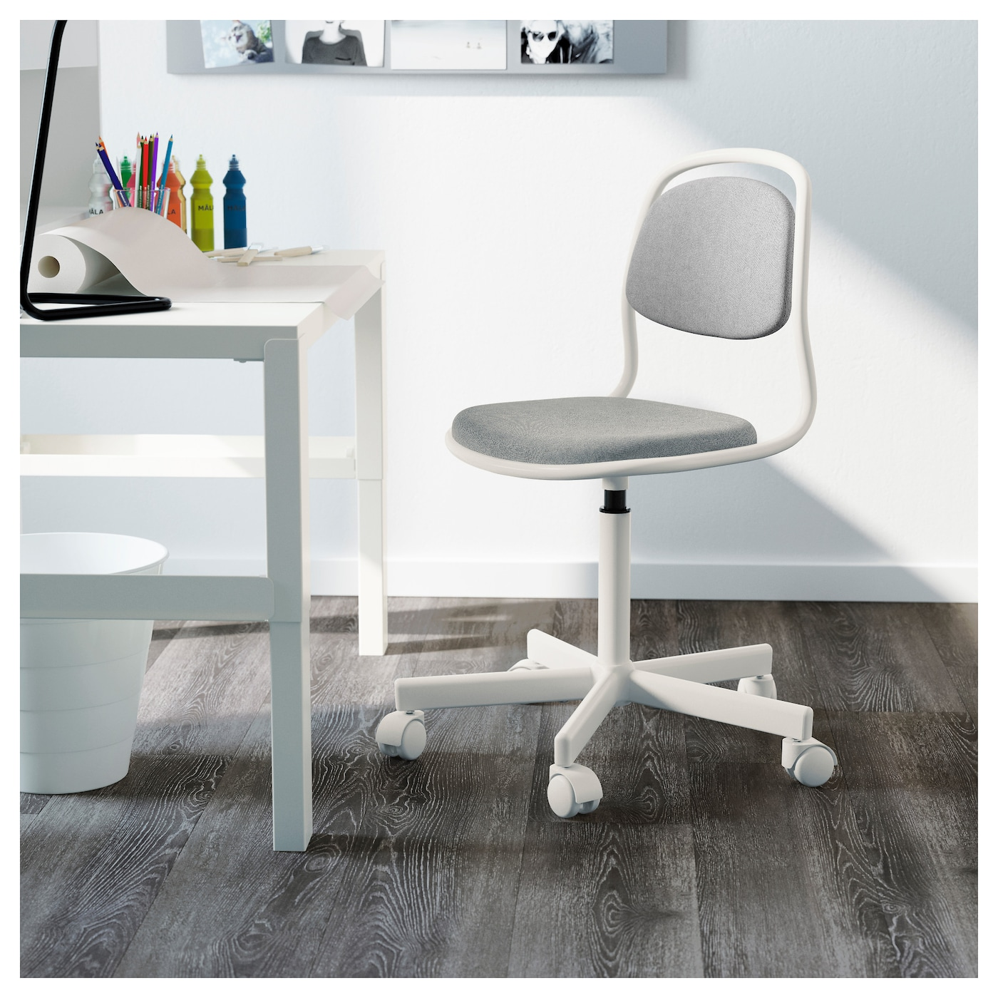 "–RFJ""LL Children s desk chair White vissle light grey IKEA"