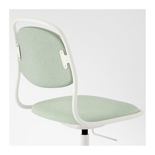 Rfj ll sporren swivel chair white vissle light green ikea for Ikea white swivel chair