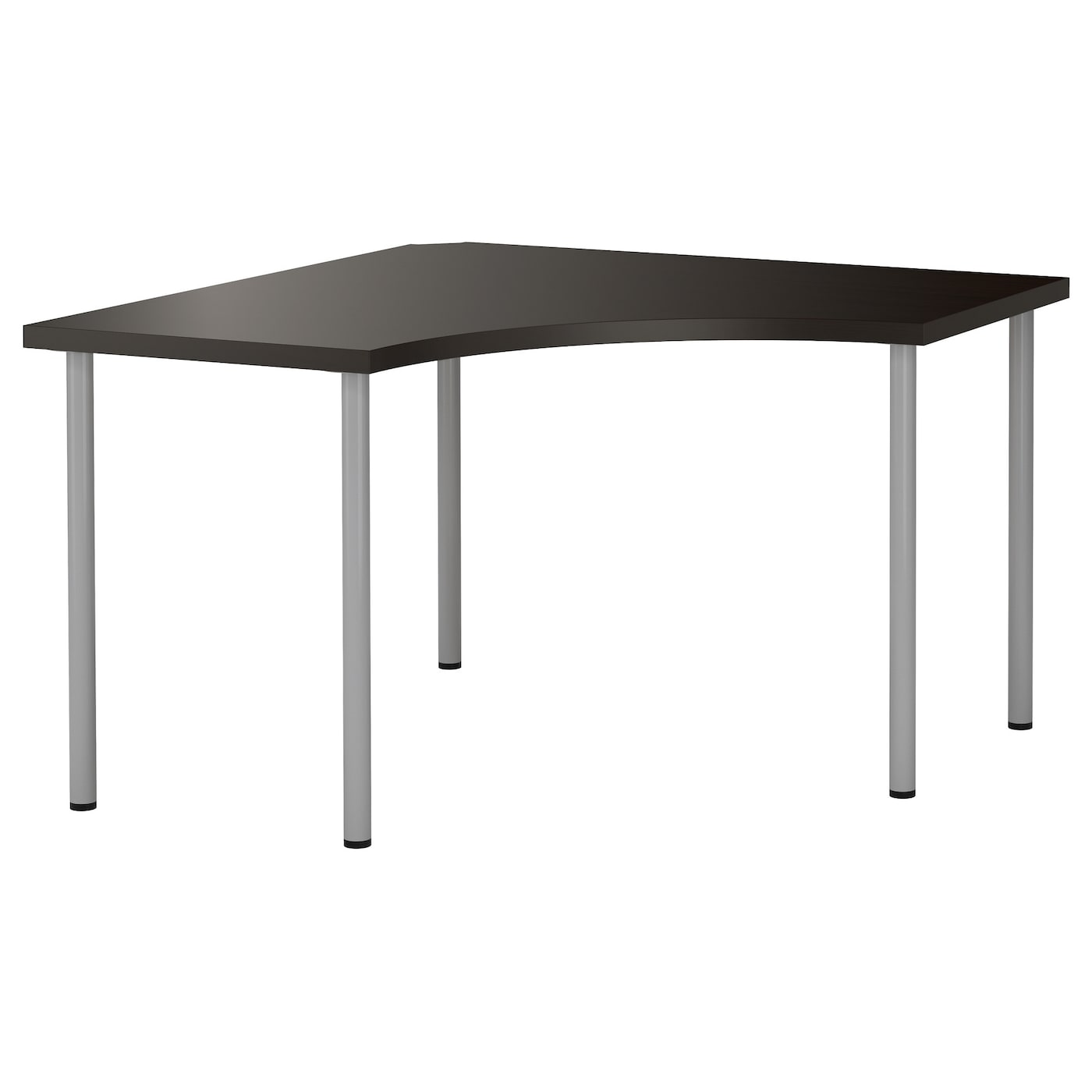 Adils Linnmon Corner Table Black Brown Silver Colour