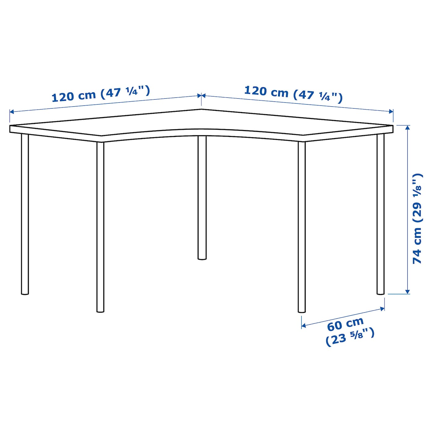 IKEA ADILS/LINNMON corner table Pre-drilled holes for five legs, for easy assembly.