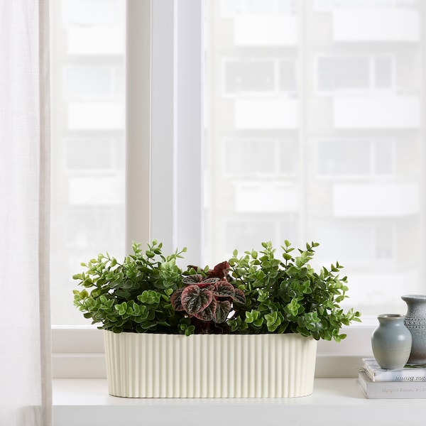 ÄPPELROS Plant pot, in/outdoor/off-white oval, 9 cm
