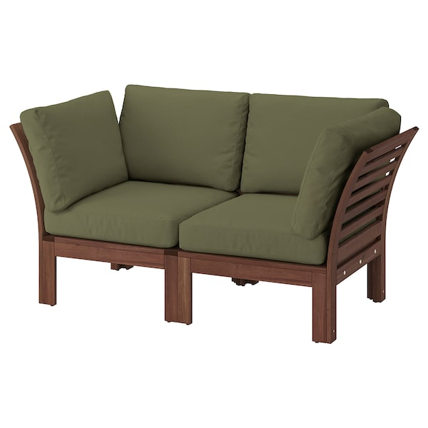 ÄPPLARÖ 2-seat modular sofa, outdoor, brown stained/Frösön/Duvholmen dark beige-green, 160x80x84 cm