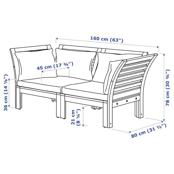 ÄPPLARÖ 2-seat modular sofa, outdoor, brown stained/Hållö beige, 160x80x78 cm