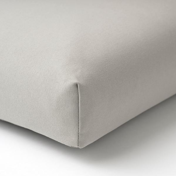 ÄPPLARÖ 2-seat modular sofa, outdoor, brown stained/Kuddarna grey, 160x80x80 cm
