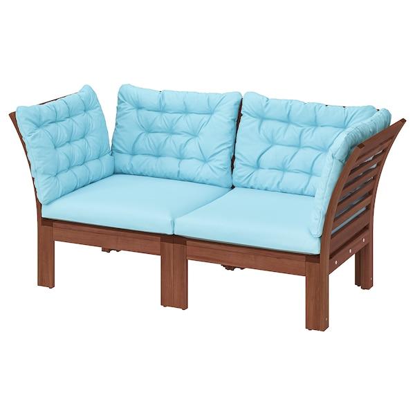 ÄPPLARÖ 2-seat modular sofa, outdoor, brown stained/Kuddarna light blue, 160x80x80 cm