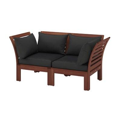 ÄPPLARÖ 2-seat modular sofa, outdoor brown stained/Hållö black 160 cm 80 cm 78 cm 45 cm 36 cm