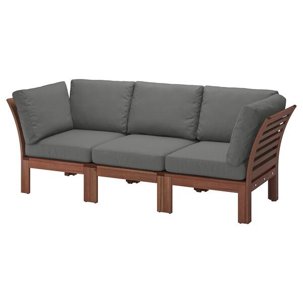 ÄPPLARÖ 3-seat modular sofa, outdoor, brown stained/Frösön/Duvholmen dark grey, 223x80x84 cm