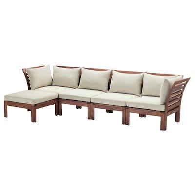 ÄPPLARÖ 4-seat modular sofa, outdoor, with footstool brown stained/Hållö beige, 143/286x80x73 cm