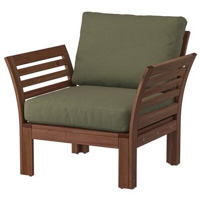 ÄPPLARÖ Armchair, outdoor, brown stained/Frösön/Duvholmen dark beige-green