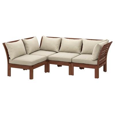ÄPPLARÖ Corner sofa 3+1, outdoor, brown stained/Hållö beige, 143/223x80x78 cm