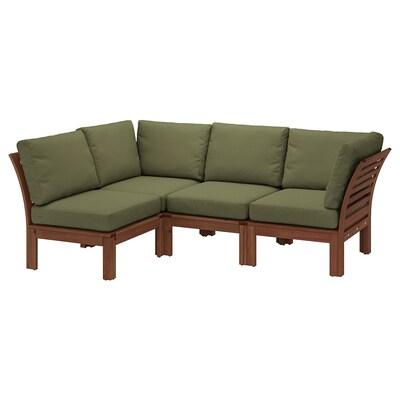 ÄPPLARÖ Modular corner sofa 3-seat, outdoor, brown stained/Frösön/Duvholmen dark beige-green, 143/223x80x84 cm