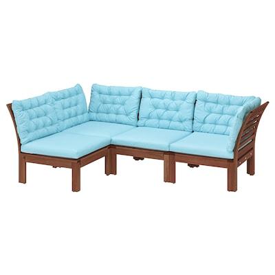 ÄPPLARÖ Modular corner sofa 3-seat, outdoor, brown stained/Kuddarna light blue, 143/223x80x80 cm
