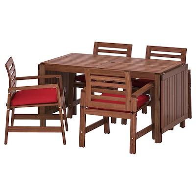 ÄPPLARÖ table+4 chairs w armrests, outdoor brown stained/Frösön/Duvholmen red