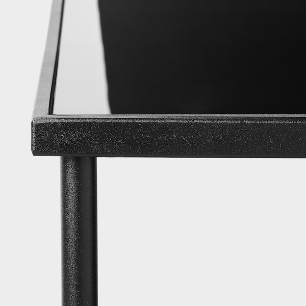 ÄSPERÖD Coffee table, black/glass black, 115x58 cm