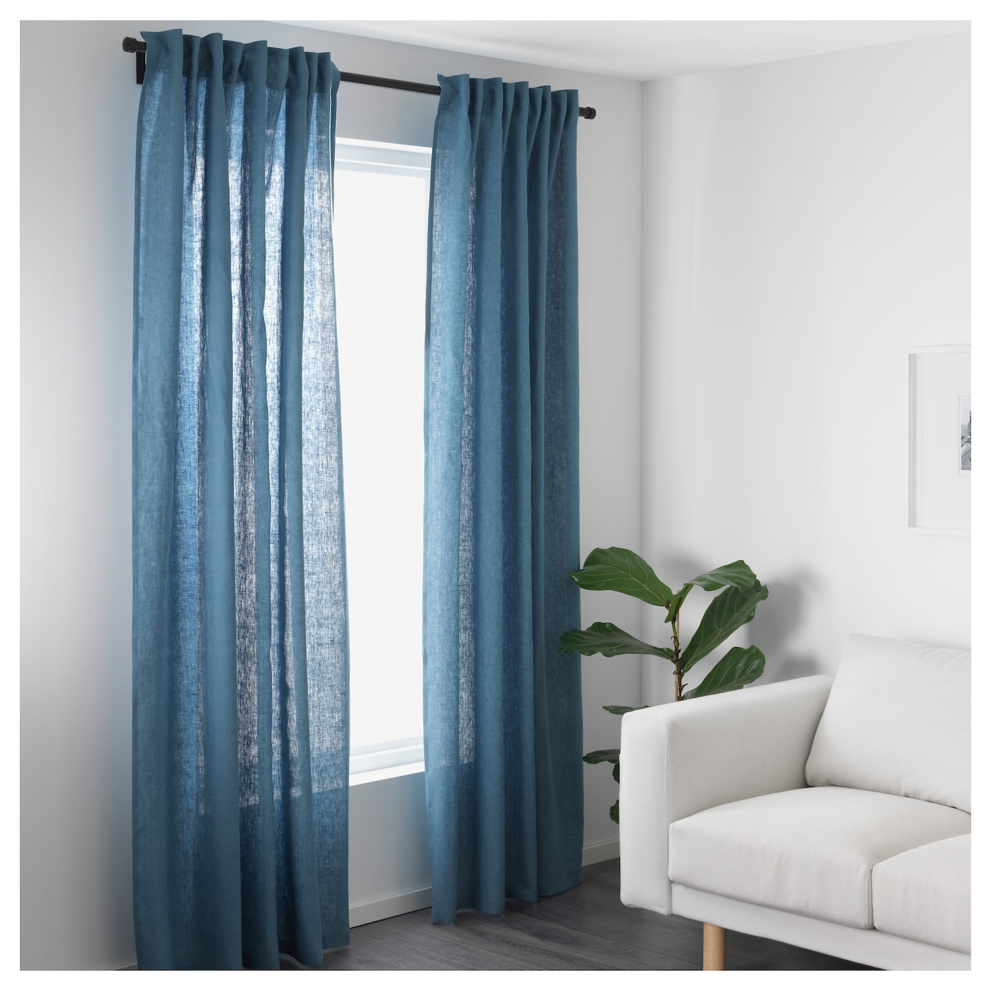 Aina Curtains Pair Blue Cm Ikea
