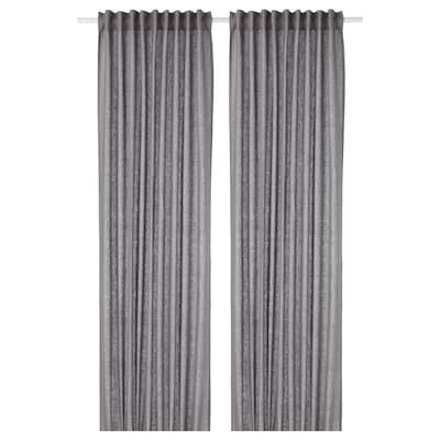 AINA Curtains, 1 pair, dark grey, 145x250 cm