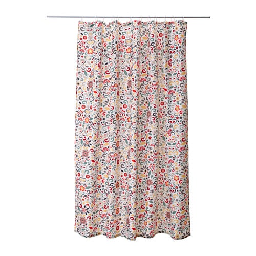ÅKERKULLA Shower curtain IKEA Densely-woven polyester fabric with water-repellent coating.