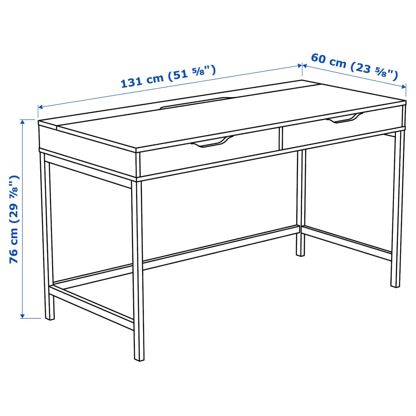 IKEA ALEX desk Drawer stops prevent the drawers from being pulled out too far.