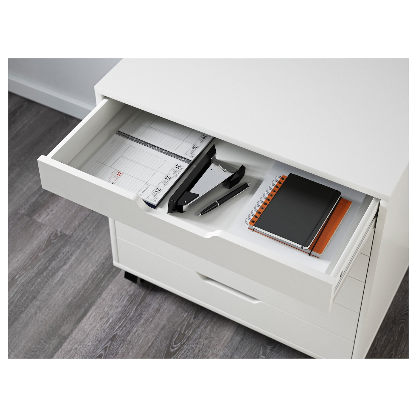 IKEA ALEX drawer unit on castors Drawer stops prevent the drawer from being pulled out too far.