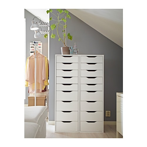 Aneboda Kleiderschrank Von Ikea ~ IKEA ALEX drawer unit with 9 drawers Drawer stops prevent the drawer