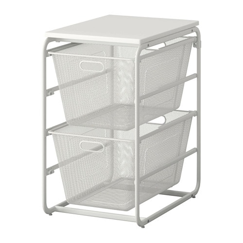 Algot Frame 2 Mesh Baskets Top Shelf White 41x60x75 Cm Ikea