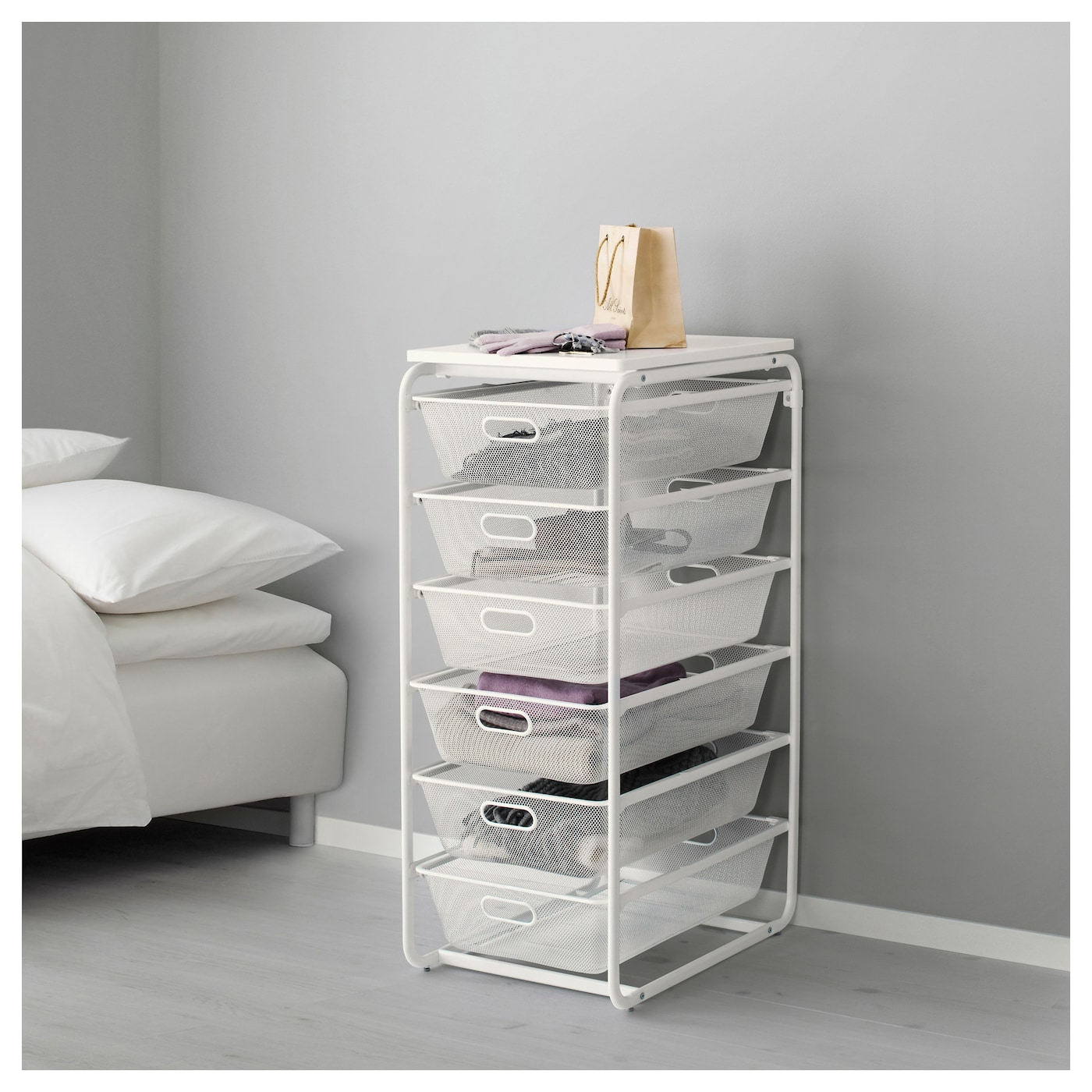 ALGOT Frame/6 mesh baskets/top shelf White 41 x 60 x 105 cm - IKEA