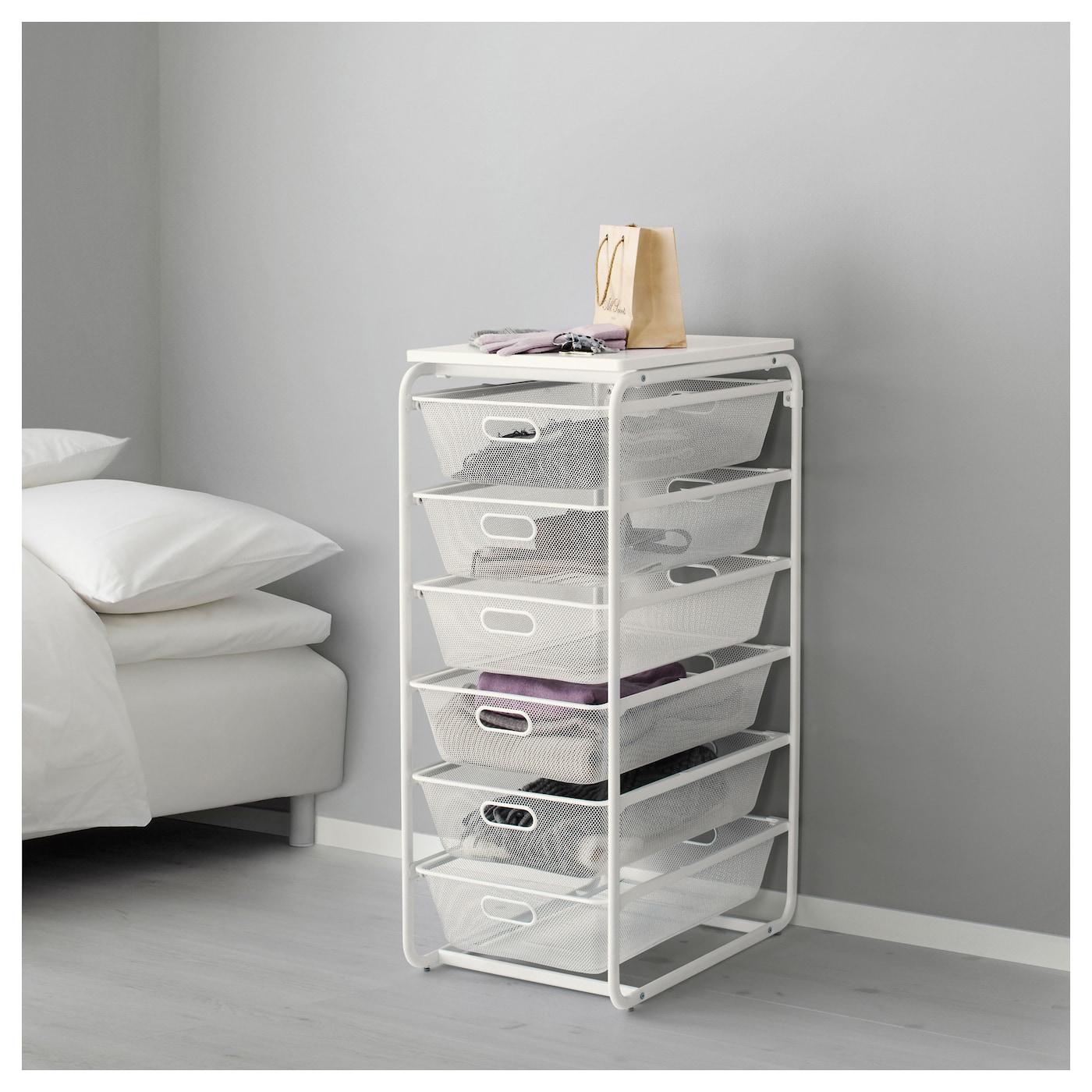 ALGOT Frame/6 mesh baskets/top shelf White 41x60x105 cm - IKEA