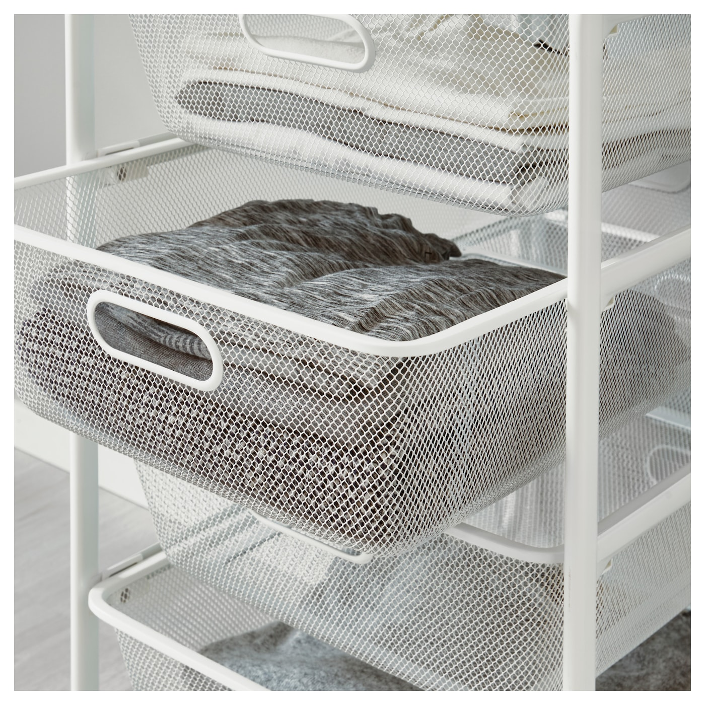 IKEA ALGOT frame with rod/mesh baskets Can also be used in bathrooms and other damp areas indoors.