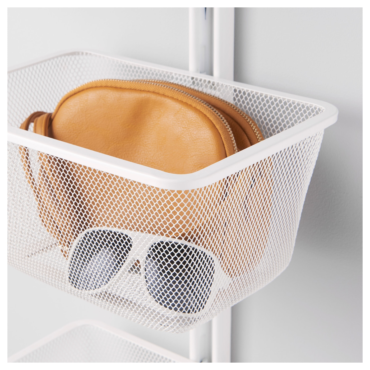 IKEA ALGOT mesh basket with bracket Just click in on ALGOT wall upright – no tools needed.