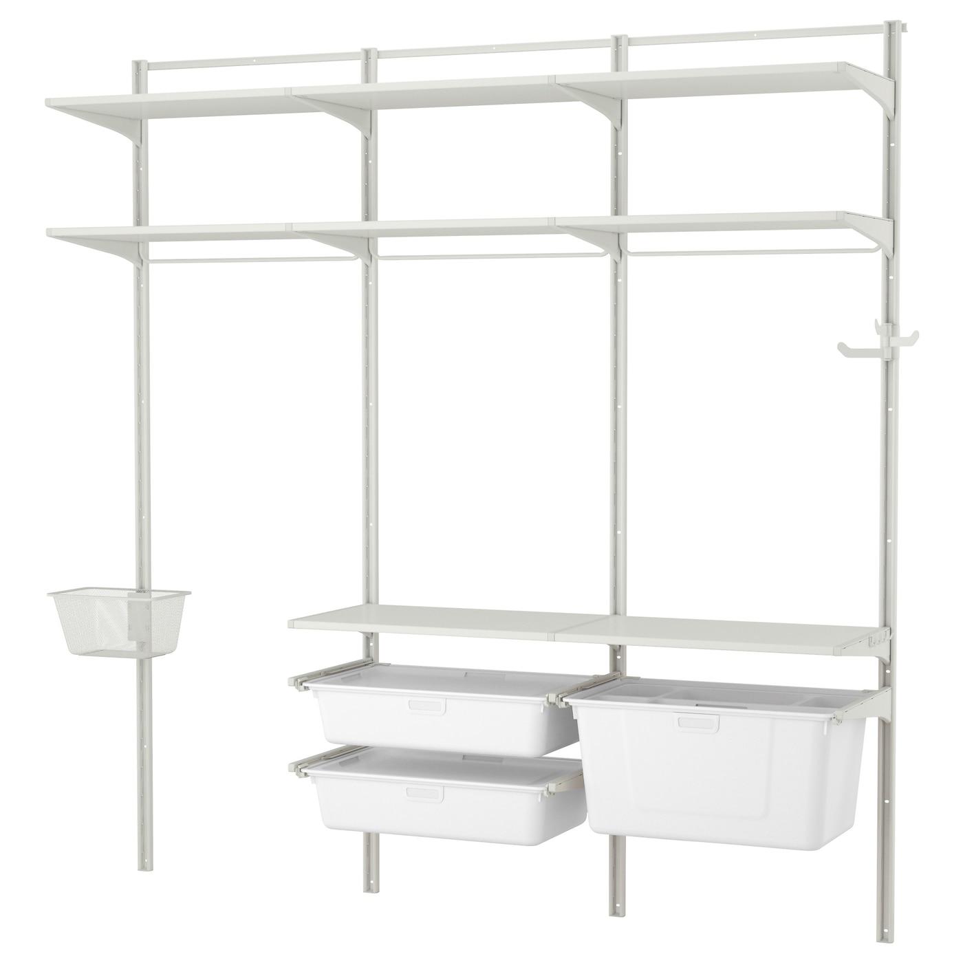 algot wall upright shelf triple hook white 212x41x199 cm coat hangers amp coat hooks ikea
