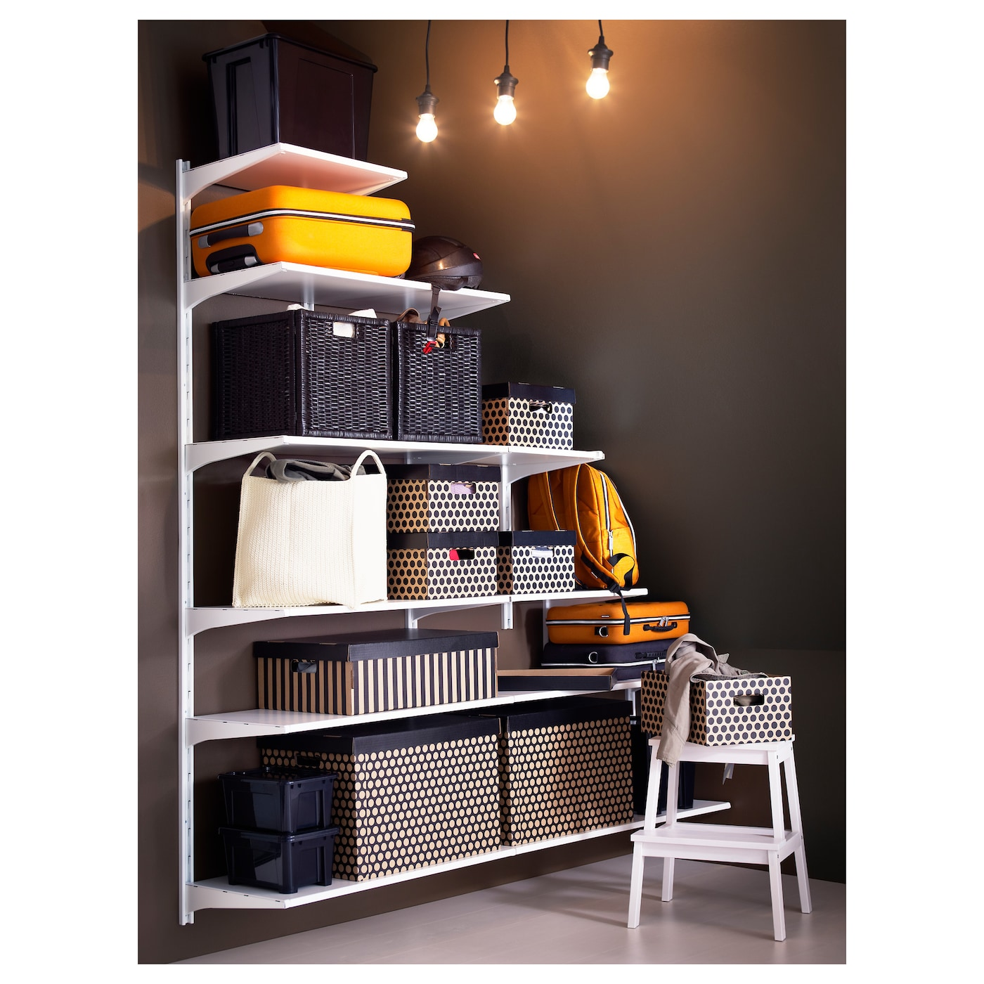 IKEA ALGOT wall upright/shelves Easy to fit under stairs or in a room with a slanted ceiling.