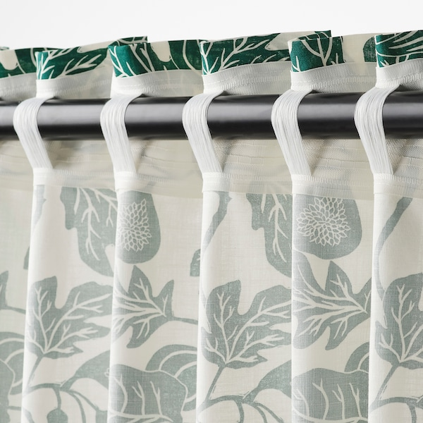 ALPKLÖVER curtains, 1 pair white/dark green 250 cm 145 cm 1.50 kg 3.63 m² 2 pack