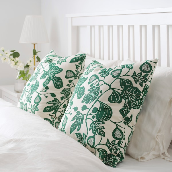 ALPKLÖVER cushion cover natural/dark green 50 cm 50 cm