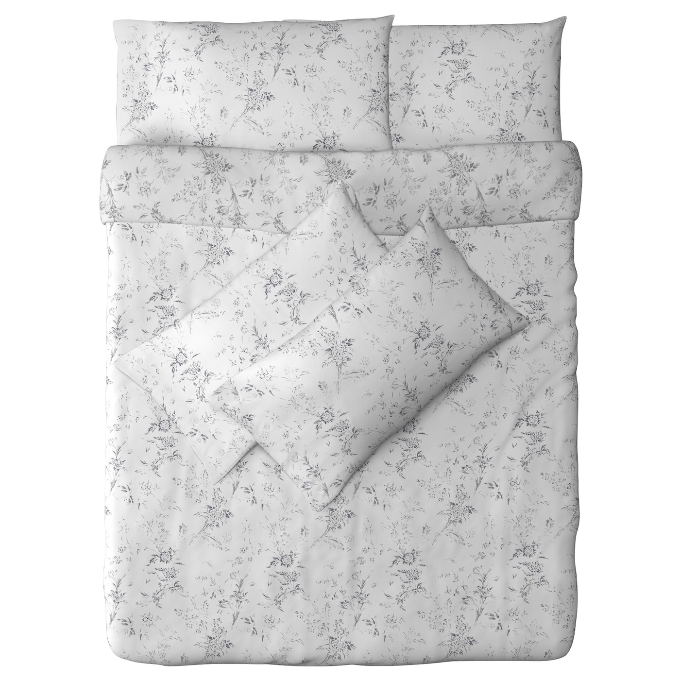 alvine kvist quilt cover and 4 pillowcases white grey 200x200 50x80 cm ikea. Black Bedroom Furniture Sets. Home Design Ideas