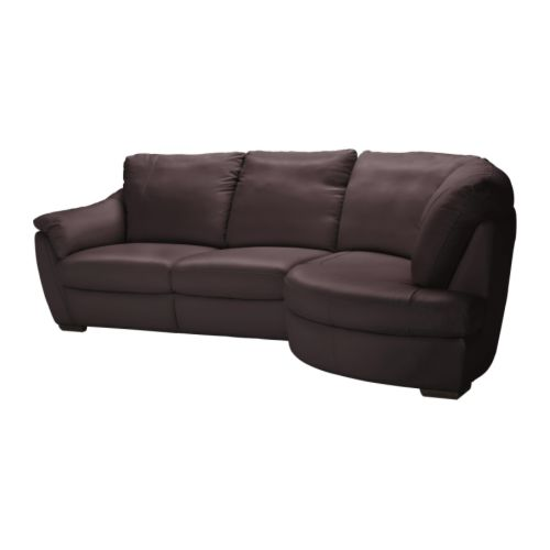 ÄLVROS Corner sofa with arm left IKEA Seat surfaces and armrests in soft, hardwearing, easy care grain leather; practical for families with children.