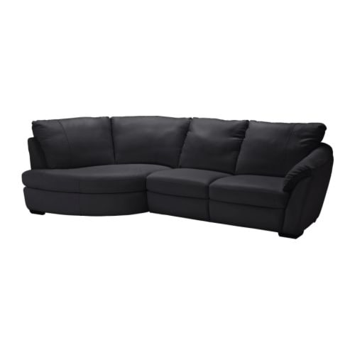 ÄLVROS Corner sofa with arm right IKEA Seat surfaces and armrests in soft, hardwearing, easy care grain leather; practical for families with children.