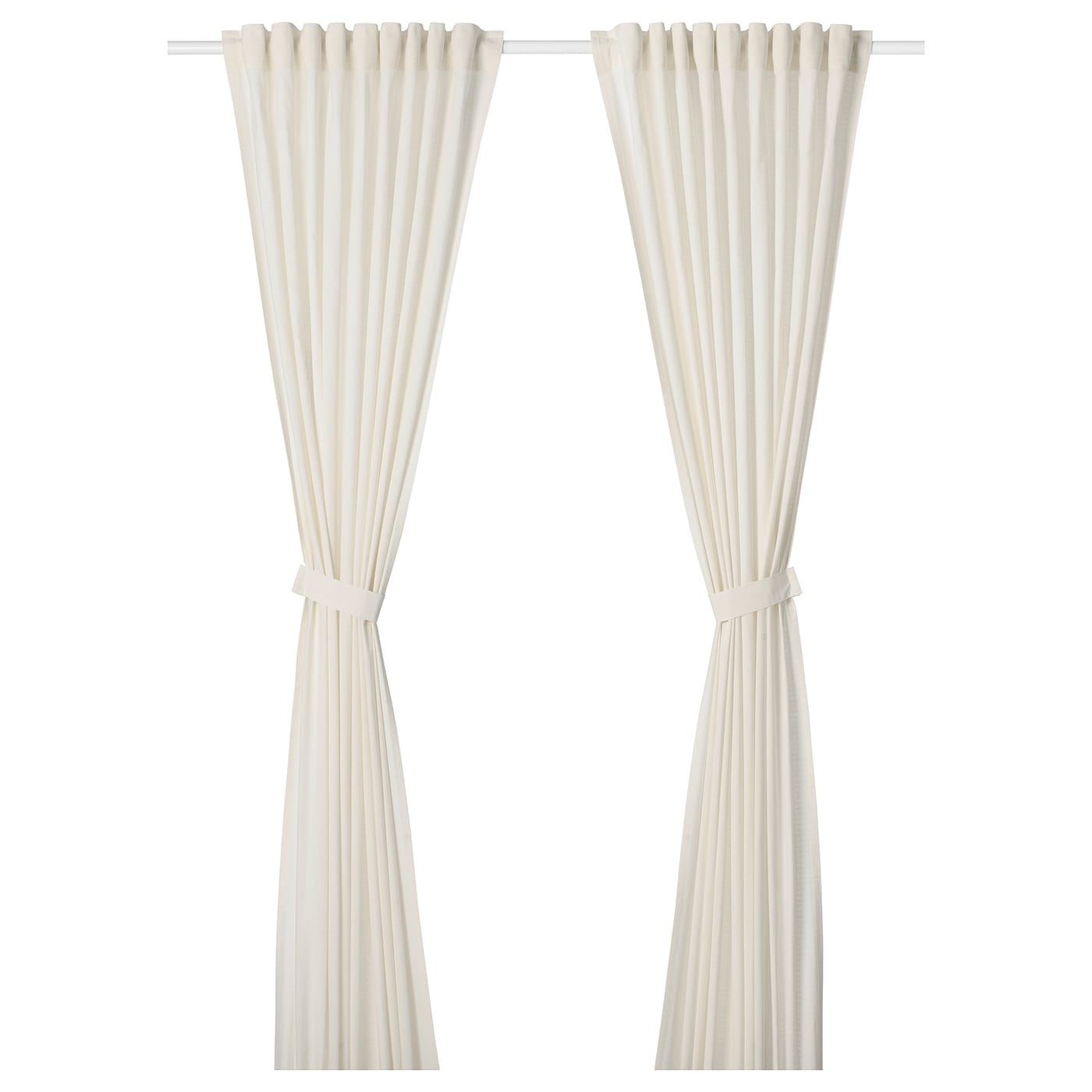 IKEA AMILDE curtains with tie-backs, 1 pair
