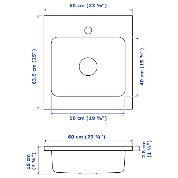 AMMERÅN Onset sink, 1 bowl, stainless steel, 60x63.5 cm