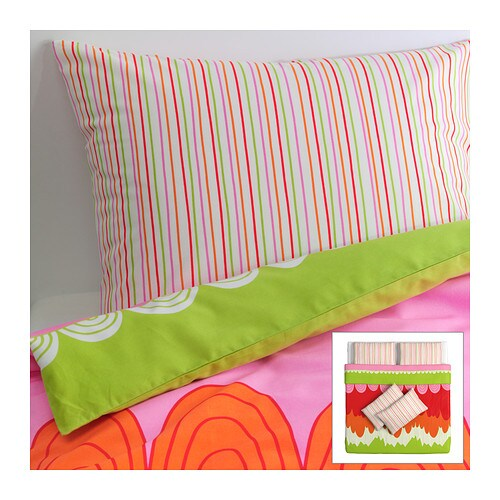 ÄNGSKRASSE Quilt cover and 4 pillowcases , multicolour Quilt cover length: 220 cm Quilt cover width: 240 cm Pillowcase length: 50 cm Pillowcase width: 80 cm