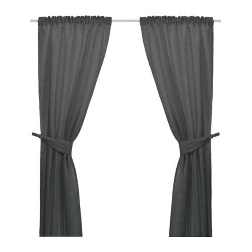 ANITA Curtains with tie-backs, 1 pair IKEA Thick fabric helps to darken the room and reduce sound.