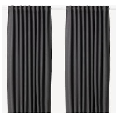 ANNAKAJSA Room darkening curtains, 1 pair, grey, 145x250 cm