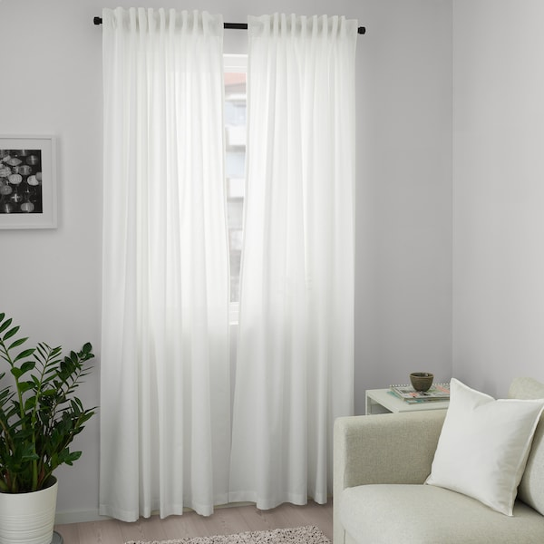 ANNALOUISA Curtains, 1 pair, white, 145x250 cm