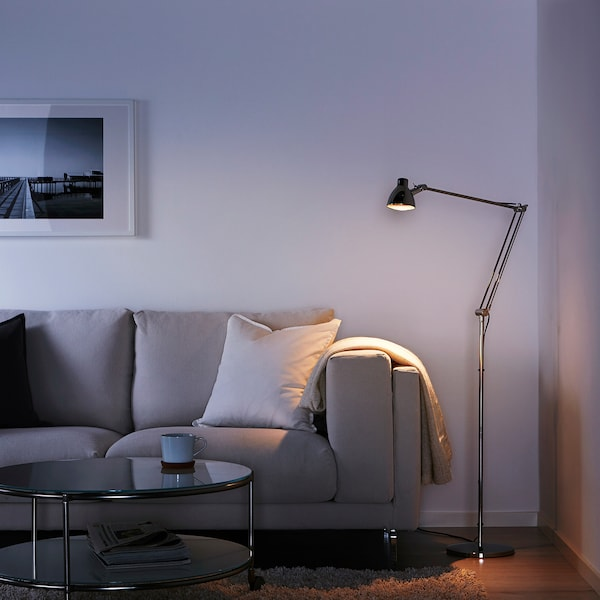 ANTIFONI Floor/reading lamp, nickel-plated