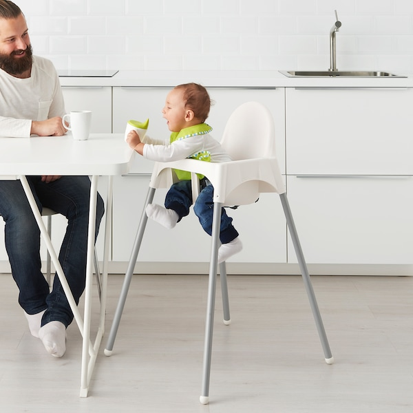 ANTILOP Highchair with safety belt white, silver colour