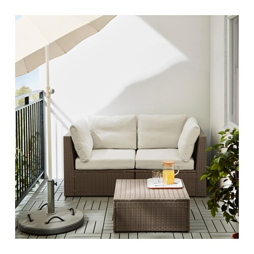 Arholma 2 seat sofa outdoor brown beige 152x76x66 cm ikea - Ikea jardin tumbonas roubaix ...