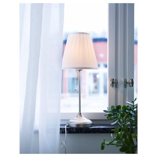 ÅRSTID Table lamp, nickel-plated/white