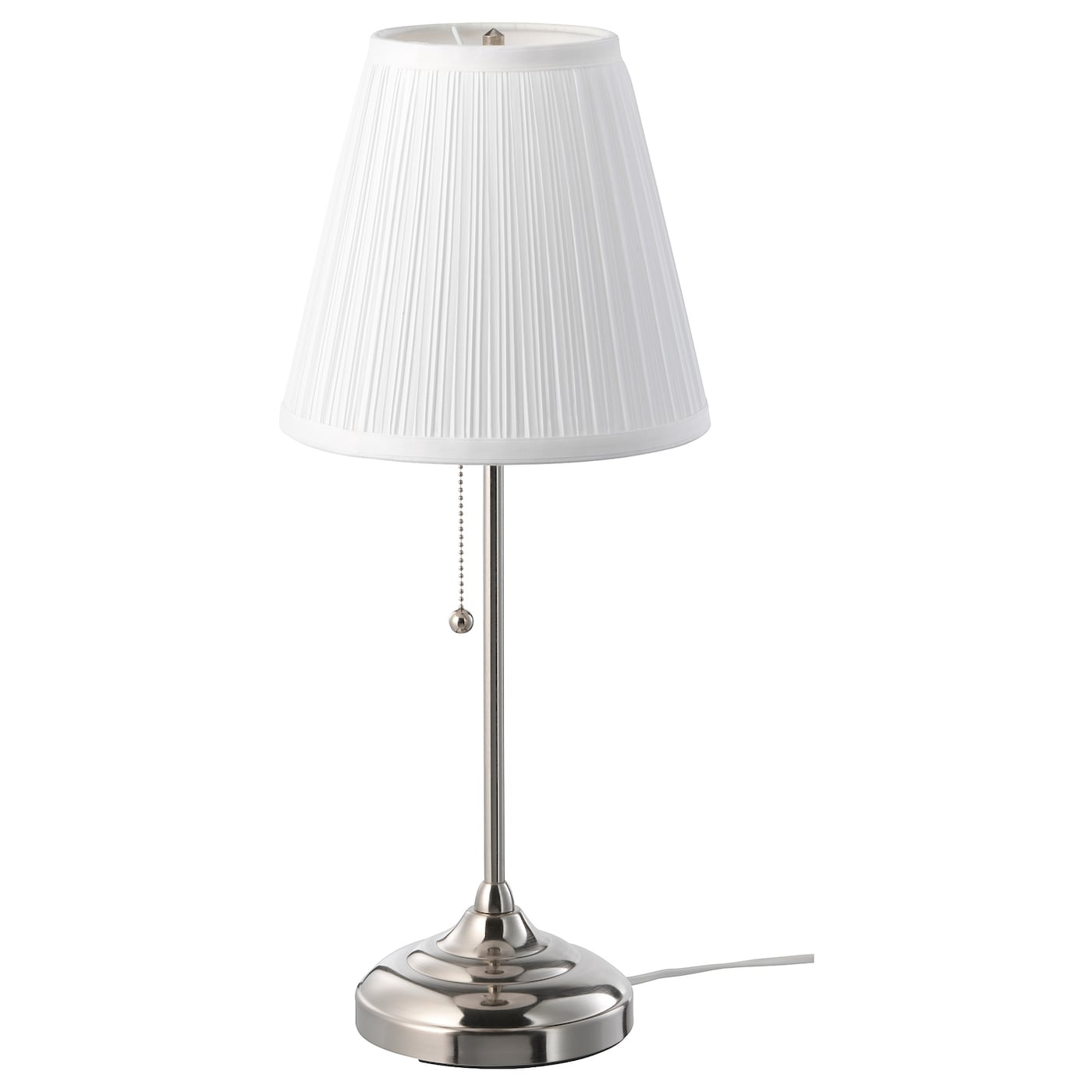 nickel plated, white, Table lamp IKEA