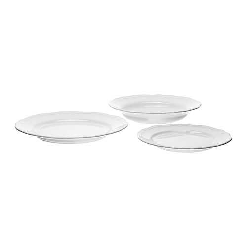 ARV 18-piece service IKEA Dinnerware that combines a simple, rustic design with a soft ruffled edge.