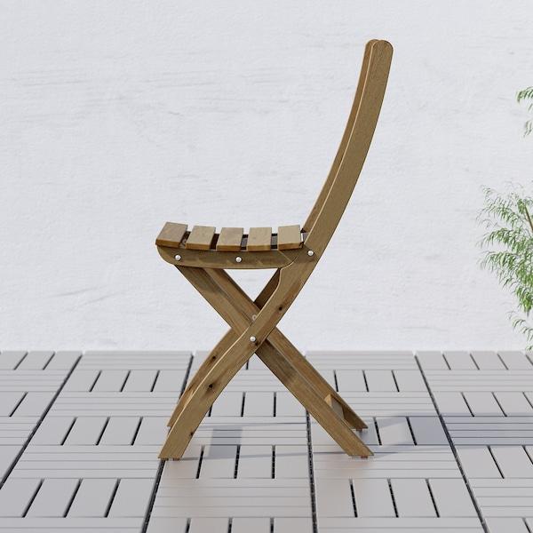 ASKHOLMEN Table+4 folding chairs, outdoor, grey-brown stained/Frösön/Duvholmen dark beige-green