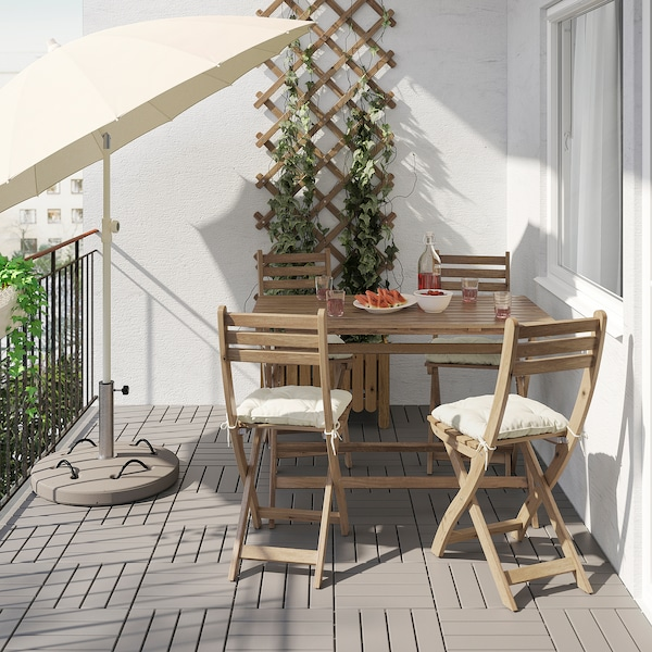 ASKHOLMEN Table+4 folding chairs, outdoor, grey-brown stained/Kuddarna beige